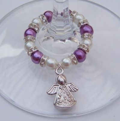 Detailed Angel Wine Glass Charm - Full Sparkle Style